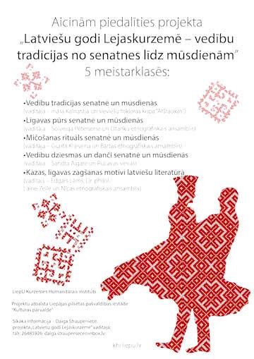 Aicinām piedalīties projekta Latviešu godi Lejaskurzemē – vedību tradīcijas no senatnes līdz mūsdienām 5 meistarklasēs